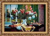 Натюрморт с тюльпанами 70*100 Панно гобелен, багет 3016.5
