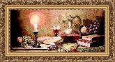 Натюрморт со свечой 50*150 Панно гобелен, багет 3016.5