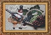 Виноград в корзине 58*80 Панно гобелен, багет 3016.5