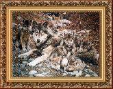 Волчата 50*65 Панно гобелен, багет 3016.5