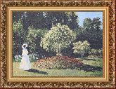 Дама в саду 50*65 Панно гобелен, багет 3016.5