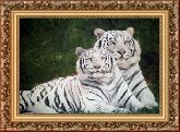 Белые тигры 70*110 панно гобелен, багет 3016.5