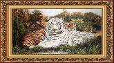 Белый тигр 70*150 панно гобелен, багет 3016.5