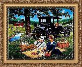Завтрак на траве 68*98 Панно гобелен, багет 3016.5