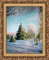 Зимний пейзаж 50*65 Панно гобелен, багет 3016.5