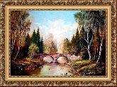 Каменный мостик 70*100 Панно гобелен, багет 3016.5