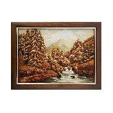 Горный пейзаж картина из янтаря