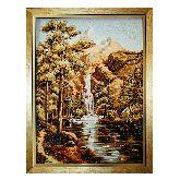 Горный водопад картина из янтаря