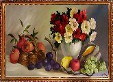 Гранаты и ваза с цветами