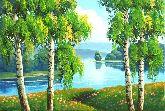 """Картина на холсте """"Березы на берегу реки"""""""