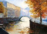 """Картина на холсте """"Осенний канал в Венеции"""""""