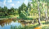 """Картина на холсте """"Заброшенный пруд"""""""