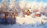 """Картина на холсте """"Зимнее утро в деревушке"""""""