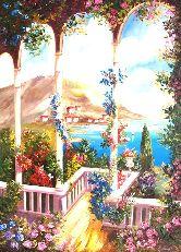 """Картина на холсте """"Цветочная веранда"""""""