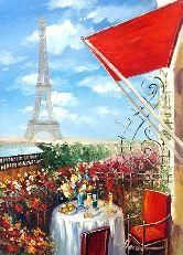 """Картина на холсте """"Терраса с видом на Эйфелевую башню"""""""