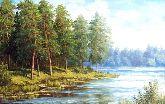 """Картина на холсте """"Сосны у пруда"""""""