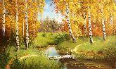 """Картина на холсте """"Осень в березовой роще"""""""