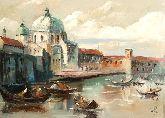 "Картина на холсте ""Вид на верфи и гондолы в Венеции"""