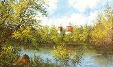 "Картина на холсте ""Храм у озера"""