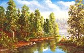 """Картина на холсте """"Река в лесу"""""""