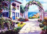 """Картина на холсте """"Греческий дворик"""""""