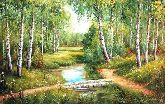 """Картина на холсте """"Березы в лесу"""""""
