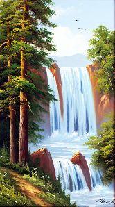 "Картина на холсте ""Водопад в лесу"""