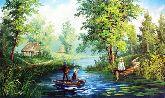 """Картина на холсте """"Дети на рыбалке"""""""