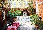 """Картина на холсте """"Уличное кафе во дворе"""""""