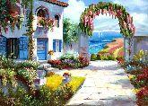 "Картина на холсте ""Летний дворик в цветах"""