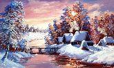 """Картина на холсте """"Морозный вечер в деревне"""""""