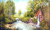"""Картина на холсте """"Водяная мельница"""""""