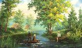 """Картина на холсте """"Дети на пруду"""""""