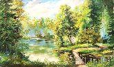 """Картина на холсте """"Мостик в лесу"""""""