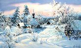 """Картина на холсте """"Зима в деревне"""""""