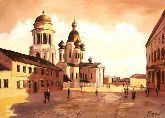 """Картина на холсте """"Церковь в Санкт-Петербурге"""""""