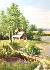 """Картина на холсте """"Церковь у реки"""""""