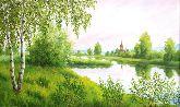 """Картина на холсте """"Церковь около реки"""""""