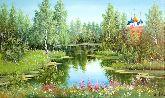 """Картина на холсте """"Рязанский кремль на фоне природы"""""""