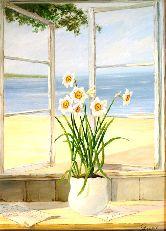"""Картина на холсте """"Нарциссы на окне"""""""