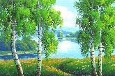 "Картина на холсте ""Березки у реки"""