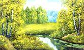 "Картина на холсте ""Летний пейзаж с рекой"""