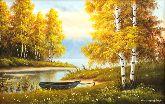 """Картина на холсте """"Лодка у озера"""""""