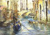 """Картина на холсте """"Гондольер на канале Венеции"""""""