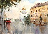 """Картина на холсте """"Дождливая Москва"""""""