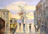"""Картина на холсте """"Дождливый город"""""""