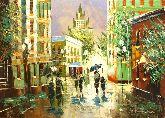 """Картина на холсте """"Дождь в городе"""""""