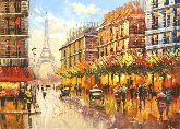"Картина на холсте ""Прогулка по улице Парижа"""