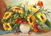 """Картина на холсте """"Подсолнухи в вазе"""""""