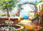 """Картина на холсте """"Летний дворик в Крыму"""""""